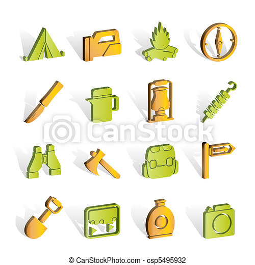 tourism and hiking icons  - csp5495932