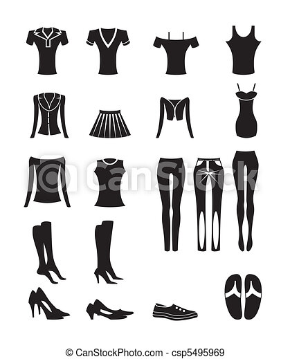 woman and female clothes icons - csp5495969