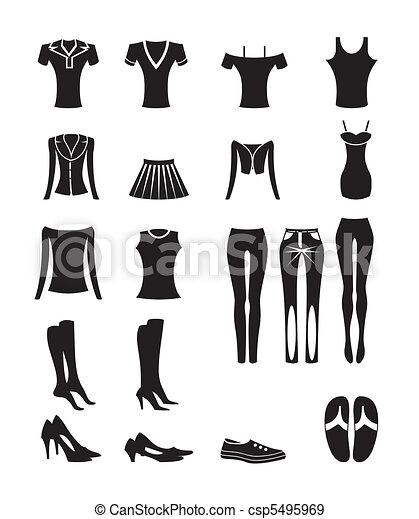 mujer, y, hembra, ropa, iconos - csp5495969