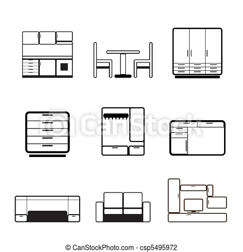 Furniture and furnishing icons  - csp5495972