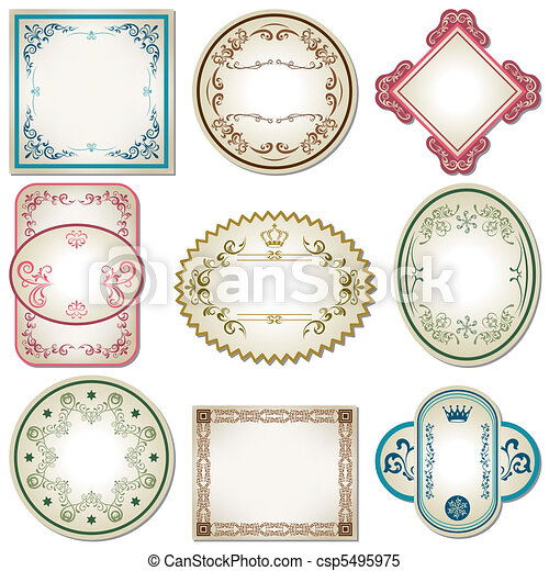Abstract pastel labels set - csp5495975
