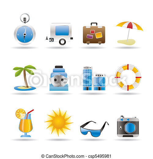 Travel, Holiday and Trip Icons - csp5495981