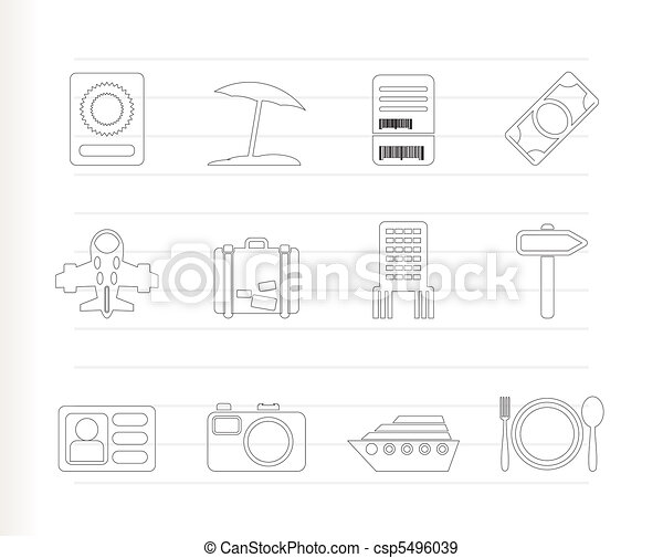 travel, trip and holiday icons - csp5496039