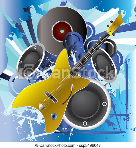 Music background with guitar  - csp5496047