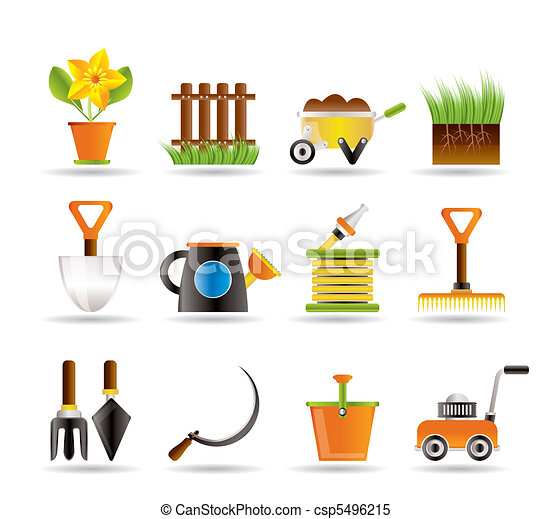 Garden and gardening tools icons  - csp5496215