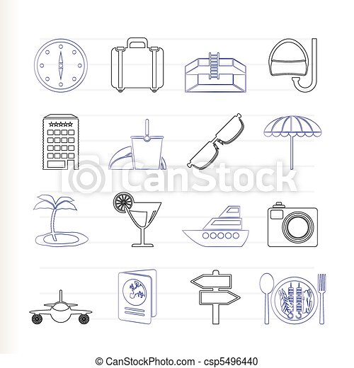 travel, trip and tourism icons - csp5496440