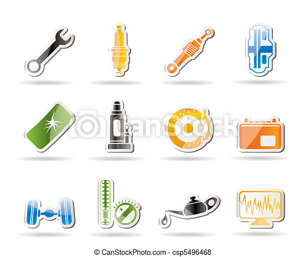 Simple Car Parts and Services icons - csp5496468
