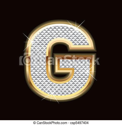 Letter G bling bling - csp5497404
