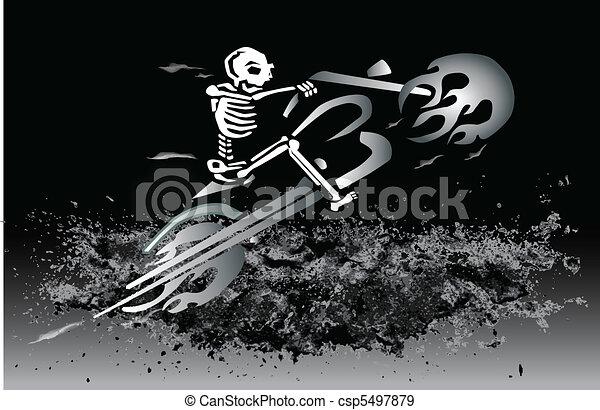 skeleton on flaming motorcycle - csp5497879