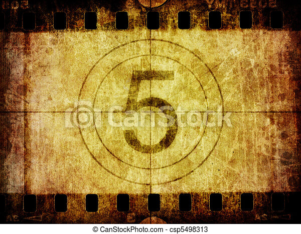 Grunge Film Negative Background Texture and Countdown Leader - csp5498313