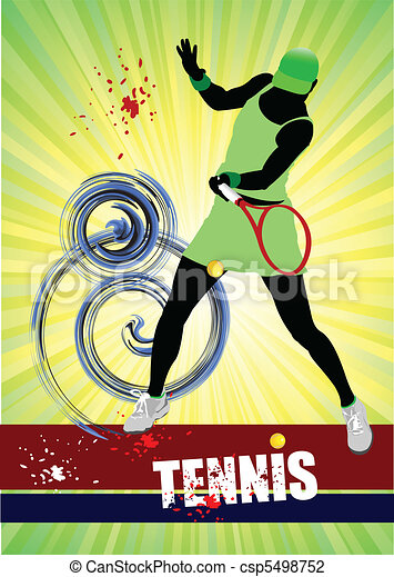 Woman Tennis player poster. Colore - csp5498752