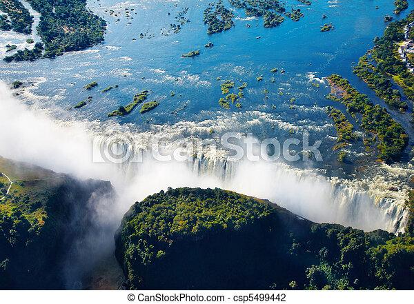 Zambezi river and Victoria Falls - csp5499442
