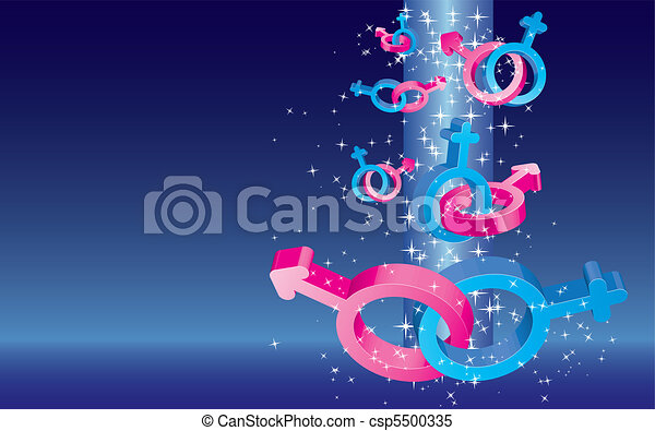 Valentine card with colored sex signs falling with stars and place for text on blue background, vector illustration - csp5500335