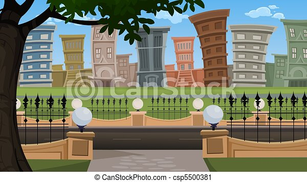 Building Scenery Drawing Scenery Buildings Csp5500381