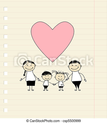 Happy family with love, drawing sketch  - csp5500999