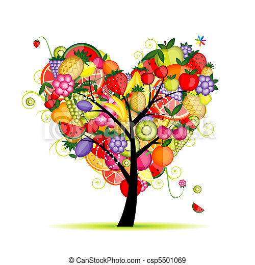Energy fruit tree heart shape for your design  - csp5501069