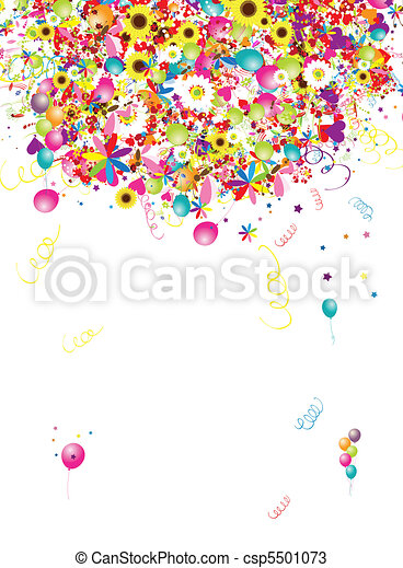 Happy holiday, funny background with balloons for your design - csp5501073