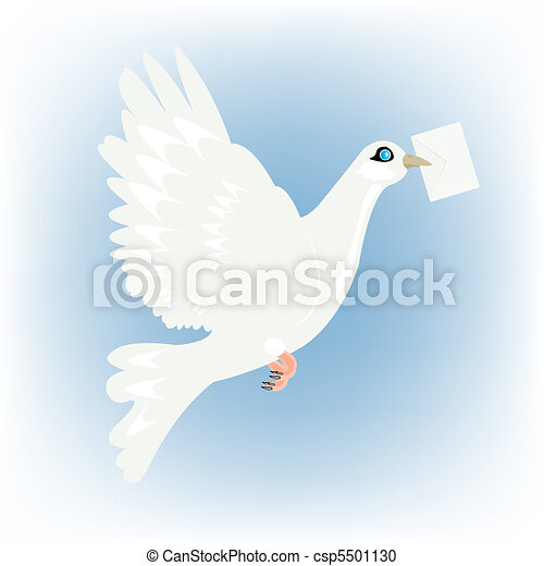 Carrier pigeon with letter in beak - csp5501130