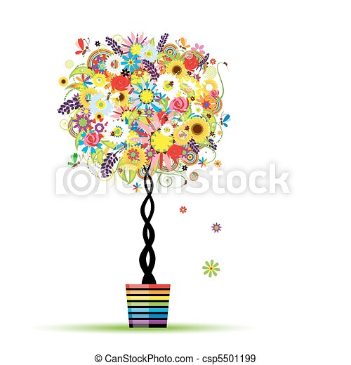 Summer floral tree in pot for your design - csp5501199
