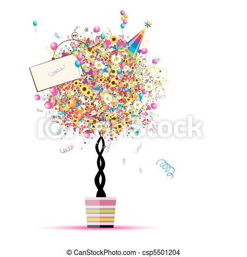 Happy holiday, funny tree with balloons  in pot for your design - csp5501204