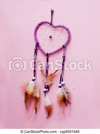 heart shaped native american dreamcatcher. - csp5501645