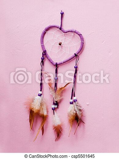 heart shaped native american dreamcatcher.  - csp5501645