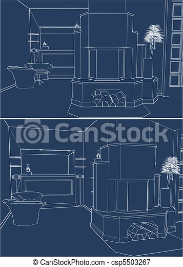 Interior With Fireplace - csp5503267