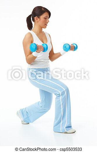Young woman working with dumb-bells - csp5503533