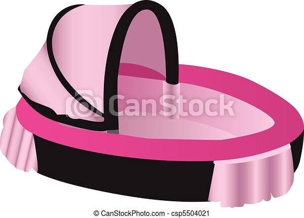 Vector Clip Art of Pink and black illustration of a baby crib ...