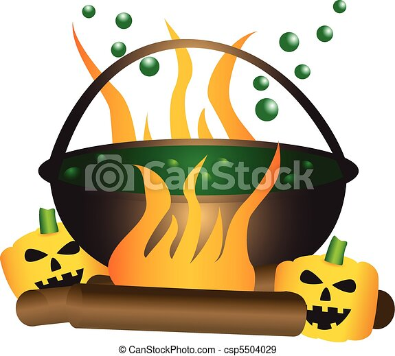 Halloween theme of a bubbling witch cauldron. - csp5504029