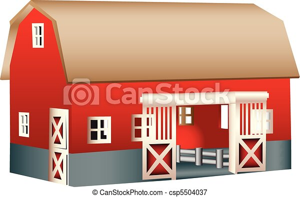 Red wooden toy barn - csp5504037