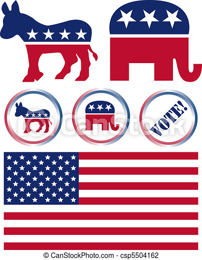 Set of United States Political Party Symbols - csp5504162