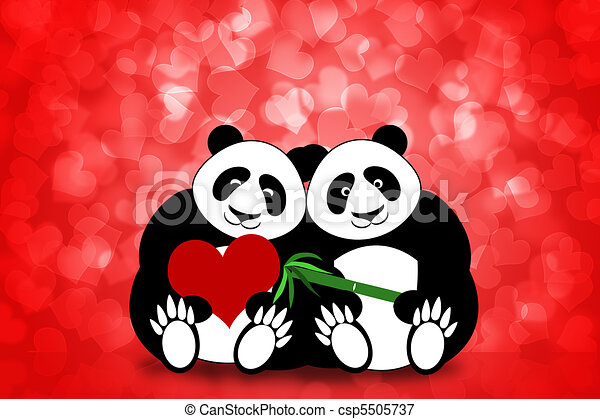 Happy Valentines Day Panda Couple Hearts Bokeh - csp5505737