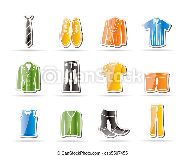 man fashion and clothes icons  - csp5507455