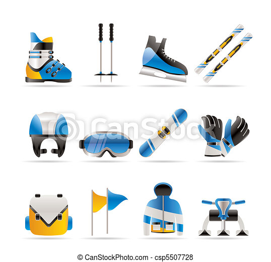 ski and snowboard equipment icons  - csp5507728
