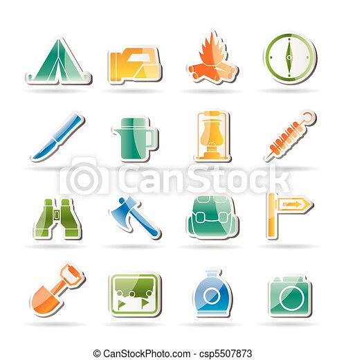 tourism and hiking icons  - csp5507873