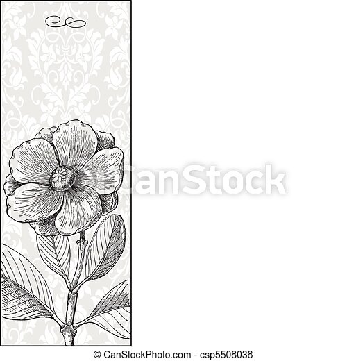 Vector Black Tall Flower and Background - csp5508038