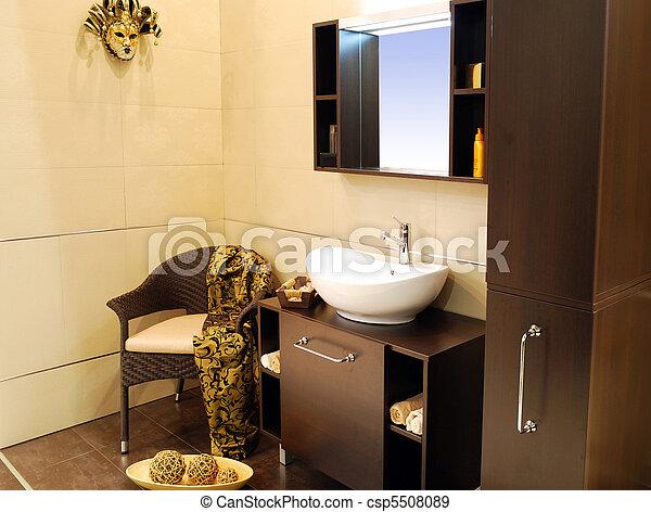 Stock fotografieken van bruine badkamer csp5508089 zoek naar stock fotografieken foto 39 s - Bruine en beige badkamer ...