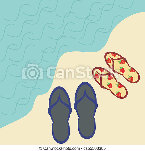 Beach Sandals Drawing Two Pairs of Beach Sandals