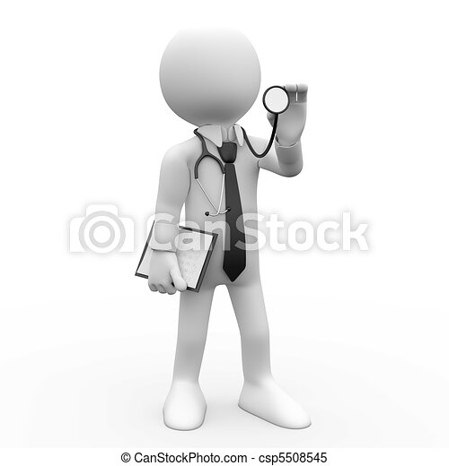 Doctor with a stethoscope auscultat - csp5508545