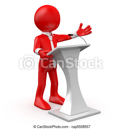 Red man speaking at a conference - csp5508557