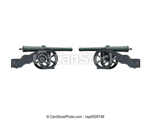 Two vintage cannons opposite each other isolated over white - csp5509746