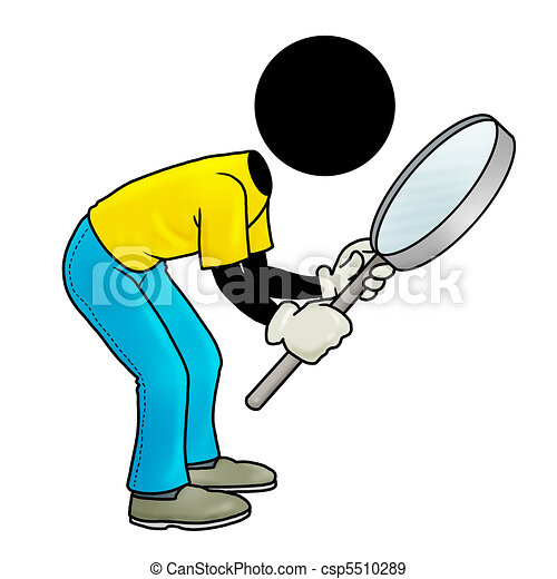 Stock Illustration of inspection - Silhouette-man looking ...