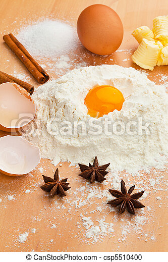 Ingredients for baking. Christmas baking. - csp5510400