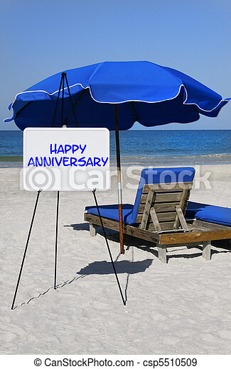 Happy Anniversary Beach Sign - csp5510509
