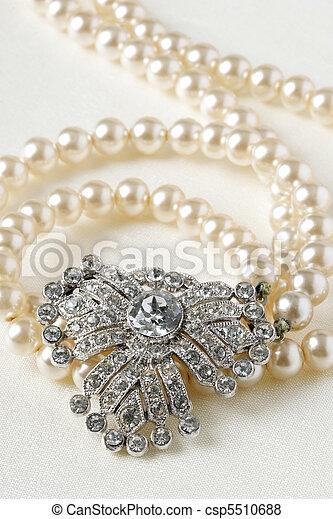 antikvitet, halsband, diamant, pärla - csp5510688
