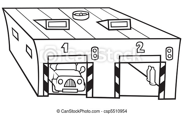 Vecteur eps de garage noir et blanc dessin anim illustration csp5510954 - Dessin garage ...