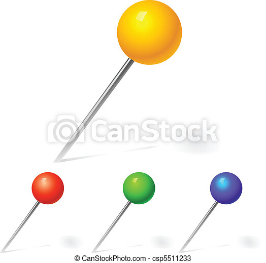 vector set of pins yellow, red and blue colors - csp5511233