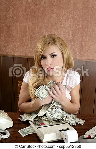 greed money retro woman office vintage accountant - csp5512350