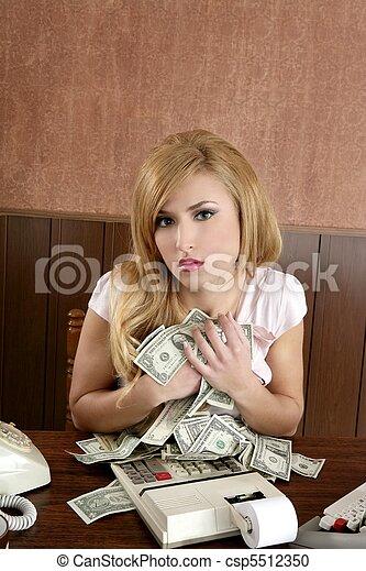 greed money retro woman office vintage accountant - csp5512350